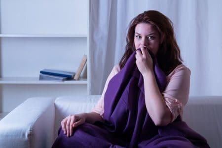 woman awakens from nightmare